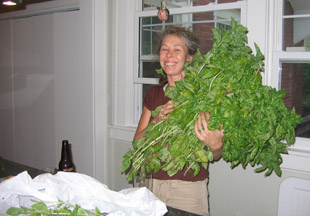 Susan with basil bouquet